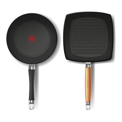 Vector set with two realistic black frying pans, round and square shape, with red thermo-spot indicator and non-stick coating, isolated on white background. Cookware for frying and cooking food