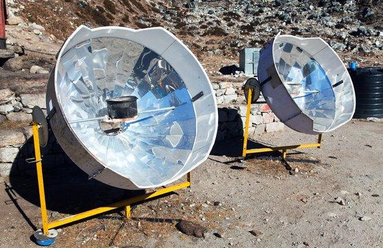 sunny solar cooker, Everest area, Nepal
