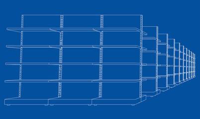 Racks with shelves sketch. 3d illustration