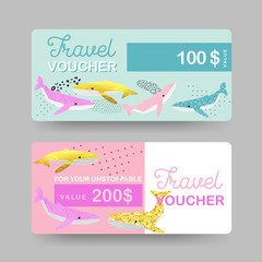 Summer Gift Travel Vouchers. Beach Vacations Coupon, Certificate, Banner Templates with Cute Whales. Sale Discount Background in Marine Theme. Vector illustration