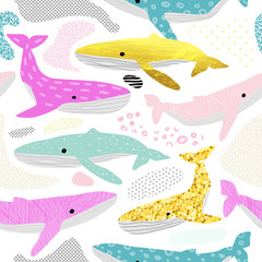 Whales Seamless Pattern. Childish Marine Background with Abstract Elements. Baby Oceanic Doodle for Fabric Textile, Wallpaper, Wrapping. Vector illustration