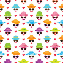Vector seamless pattern with beautiful women's faces