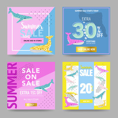 Summer Sale Banners with Cute Whales. Promotional Design Template for Posters, Flyers. Summer Discount Background Marine Theme. Vector illustration