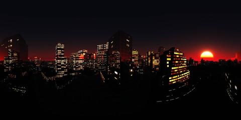 Wall Mural - HDRI, Environment map, Equirectangular projection, Spherical panorama. Night city,