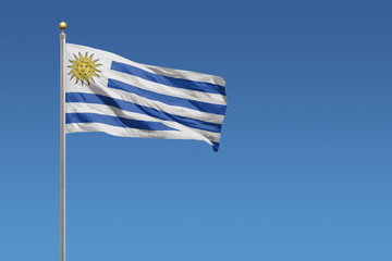 Uruguay Flag of in front of a clear blue sky
