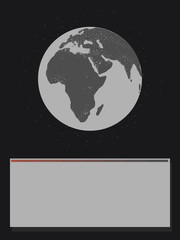 black and white planet glowing continents Eurasia africa light illumination earth in black space with stars from below block for inscriptions map game message