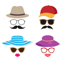 Summer photo booth vector props