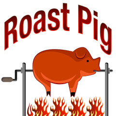 Roasted Pig Cartoon and Text
