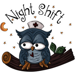 Night Shift Owl with Nurse Hat Sitting on Tree Branch