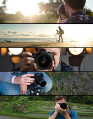 Set of photos. Young caucasian man making photo of landscape on seaside, in park and in studio.