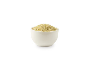 Sesame on white background. Top view. White sesame in a bowl isolated on white background. Sesame with copy space for text.