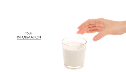 Glass of milk in a hand pattern