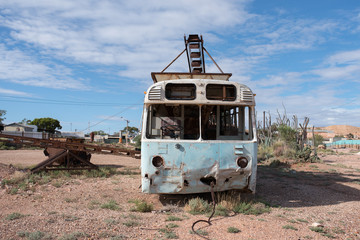 Old bus turned into mining machine