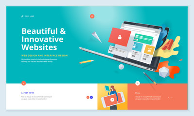 Wall Mural - Effective website template design. Modern flat design vector illustration concept of web page design for website and mobile website development. Easy to edit and customize.