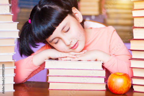 Sleeping On School Desk Kid Dreaming Lying Books And Among
