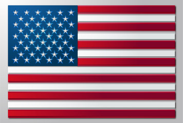 United States flag in paper cut style illustration