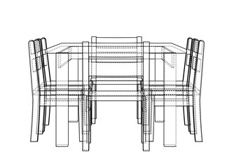 Table with chairs. 3d illustration