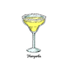 Cocktail margarita in sketch style for menu. Contemporary Classic cocktail. Tequila drink.