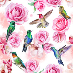 Roses, magnolia, birds of the hummingbird. Seamless wallpaper with pits and flowers. Seamless wallpaper. Illustration. Watercolor. Template. Handmade. Clipart