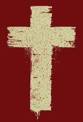 Hand drawn christian cross sign. Vector illustration.