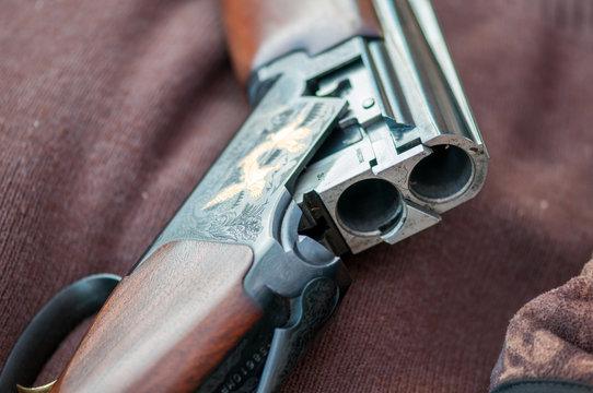 Shotgun barrel close up