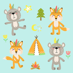 cheerful vector set of cartoon animal drawings with decorative elements