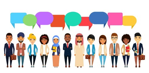 Business concept. A large group of people of different nationalities. Asian, Latin American, African, European, Indian, Arab. Communication in the modern world.