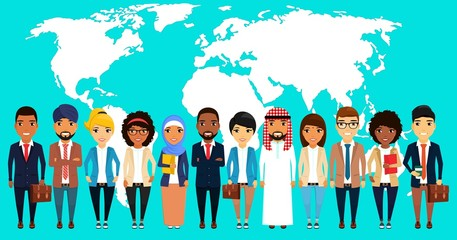 Business concept. A large group of businessmen stands shoulder to shoulder. Asian, Latin American, African, European, Indian, Arab. Men and women stand against the world map. In flat style. Cartoon.