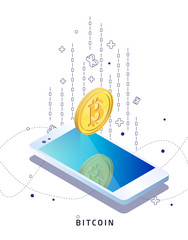 Buying and receiving cryptocurrency. Smartphone. Vector isometric illustration.