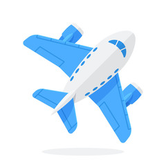 Flat vector illustration of toy blue plane