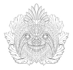 Patterned head of the sloth on the floral background.