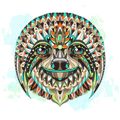 Patterned head of the sloth on the watercolor background.