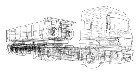 European truck outlined