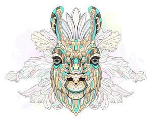 Patterned head of the llama on watercolor background. African, indian, totem, tattoo design. It may be used for design of a t-shirt, bag, postcard, a poster and so on.
