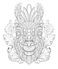 Patterned head of the llama