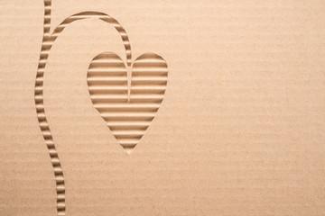Leaf cut out on a corrugated cardboard