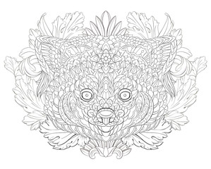 Patterned red panda on the floral background. Tattoo design. It may be used for design of a t-shirt, bag, postcard, a poster and so on.