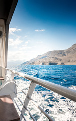 Mountain and seascape from boat, Crete, Greece