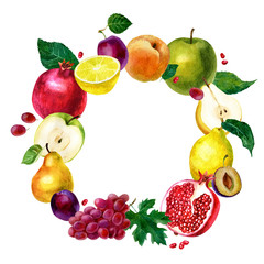 Watercolor illustration, round frame of fruits. Vegetarian food. Apple, pear, pomegranate, grapes, lemon, plum and peach.