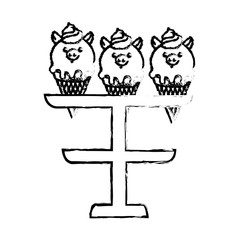 ice cream faces piggy on stand sweet vector illustration