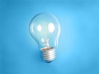 Lightbulb in blue fluid