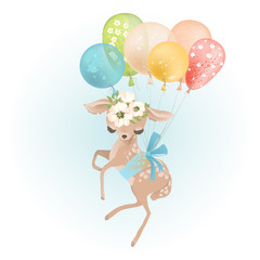 Cute baby deer with floral wreath and tied bow flying with colorful balloon, butterflies and flowers