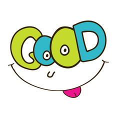 Good smile vector lettering. T-shirt print design. Cute doodle sticker