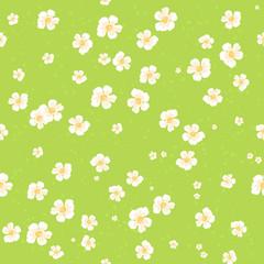 Beautiful cartoon grass field seamless pattern with flowers daisy. Nature background, texture