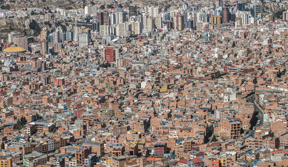Aerial view of densely populated city, La Paz, Bolivia