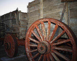 Red wagon wheel, Harmony Borax Works. Death Valley National Park, California.
