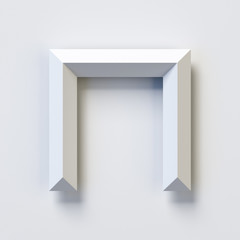 Letter N, square three dimensional font, white, simple, geometric, casting shadow on the background wall, 3d rendering