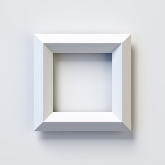 Letter O or number 0, square three dimensional font, white, simple, geometric, casting shadow on the background wall, 3d rendering