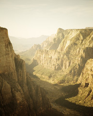 High angle scenic view from The Observation Point in Zion National Park, Utah.