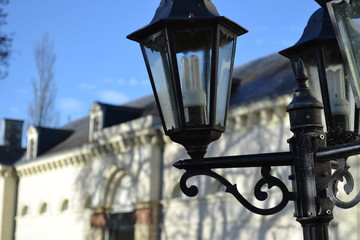Retro street lamp architecture background